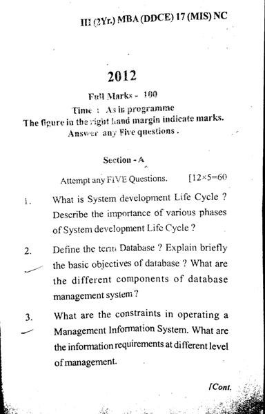 MBA 3rd Semester Question Paper 2012 Management Information System (MIS) of DDCE, Utkal University