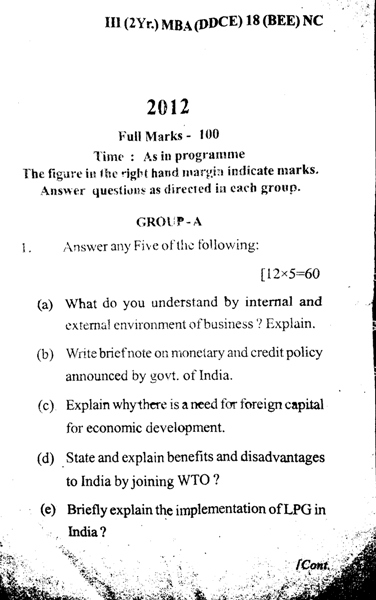 MBA 3rd Semester Question Paper 2012 Business & Economic Environment (BEE) of DDCE, Utkal University