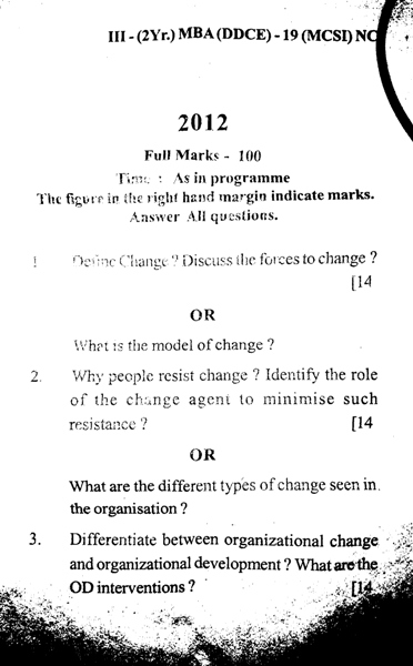 MBA 3rd Semester Question Paper 2012 Management of Change & Strategic Issues (MCSI) of DDCE, Utkal University