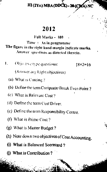 MBA 3rd Semester Question Paper 2012 Cost & Management Accounting (CMA) of DDCE, Utkal University