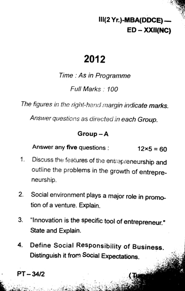 MBA 3rd Semester Question Paper 2012 Entrepreneurship Development (ED) of DDCE, Utkal University