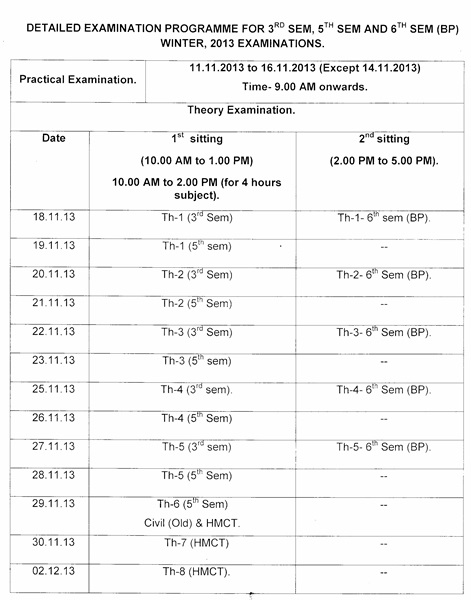 Re schedule of diploma 3rd 5th 6th back exam in odisha 2013 for 6th sem time table