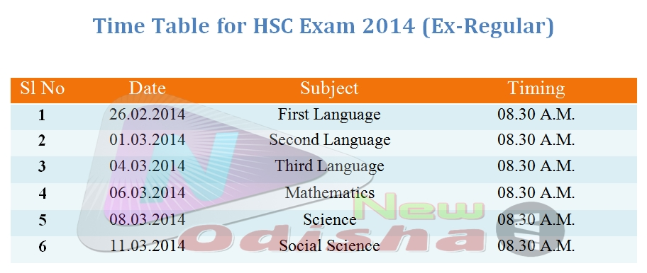 Time Table Amp Schedule Of Hsc 10th Matric Exam 2014 In Odisha