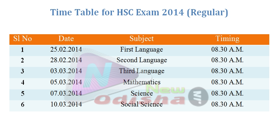 Time Table for HSC 2014 Regular